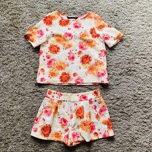 Zara// floral short set size s/m